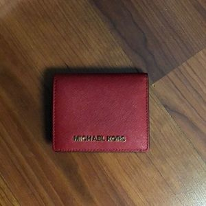 Michael Kors Red Saffiano Leather Wallet.